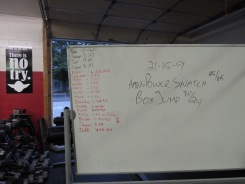 21-15-9 Hang Power Snatch/High Box Jump.